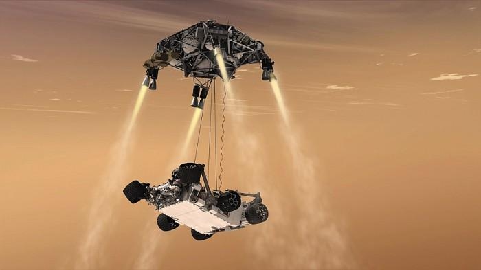 Phase finale de la descente de Curiosity vers le sol martien.