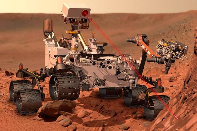 """Tir laser de l'instrument ChemCam, situé dans la """"tête"""" du rover Curiosity."""